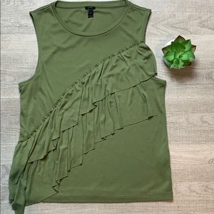 Olive green J Crew ruffle front top.